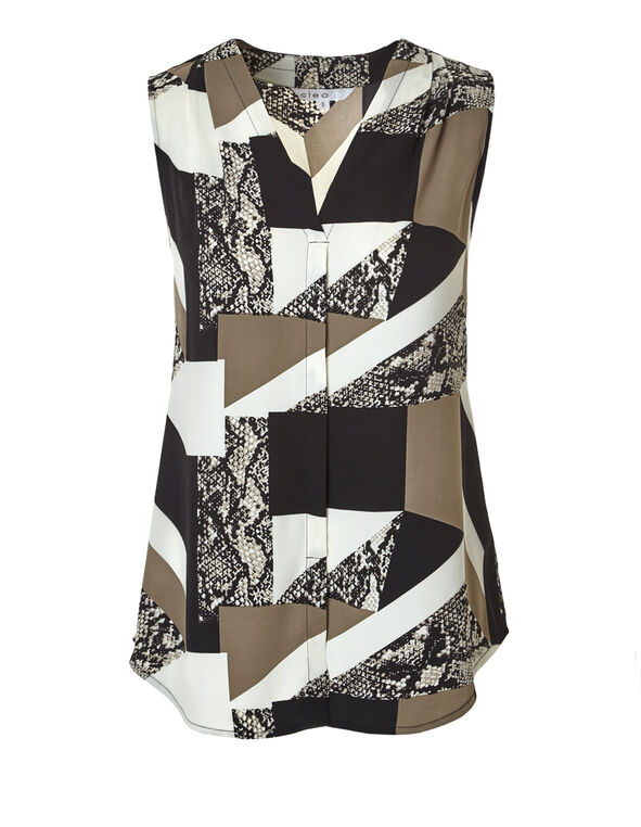Biscuit Printed V-Neck Blouse, Ivory/Biscuit/Black, hi-res