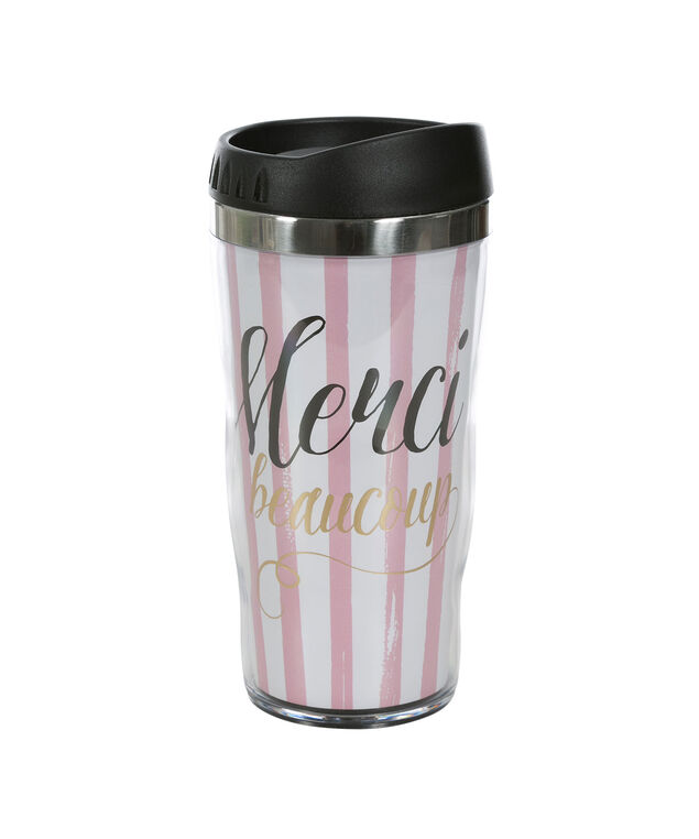 Merci Beaucoup Travel Mug, Pink/White/Gold, hi-res