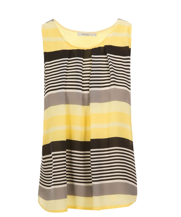 Pleat Neck Woven Overlay, Yellow Print, hi-res