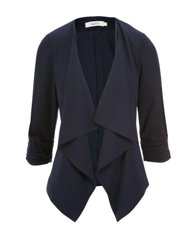 Woven Drape Front Blazer, Navy, hi-res