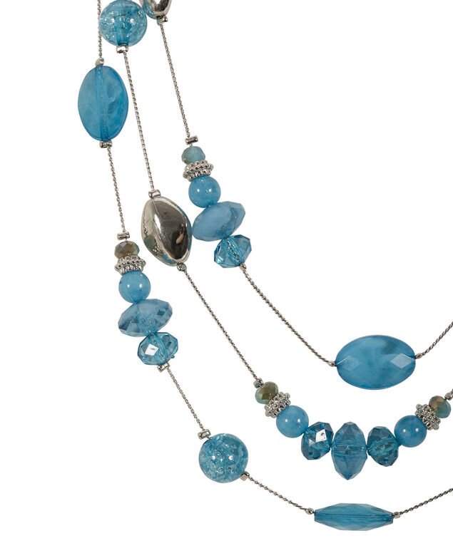 Stationed Stone Necklace Set, Turquoise/Rhodium, hi-res