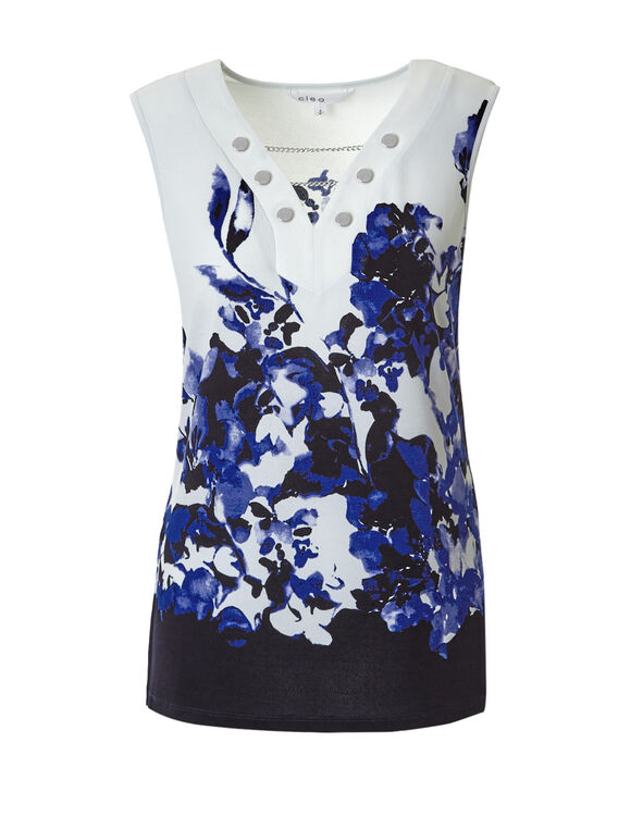 Floral Sleeveless Chain Top, Navy/White/Blue, hi-res