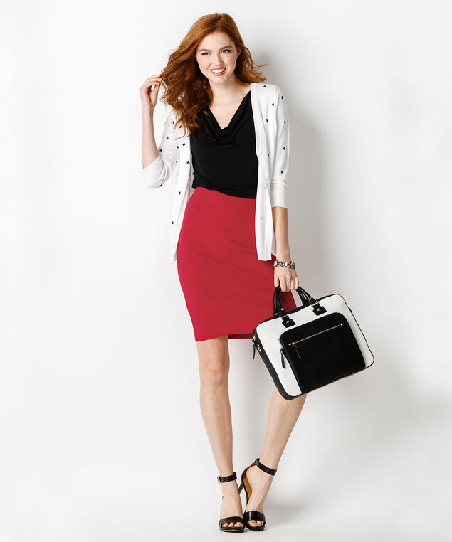Pull On Pencil Skirt, Poppy Red, hi-res