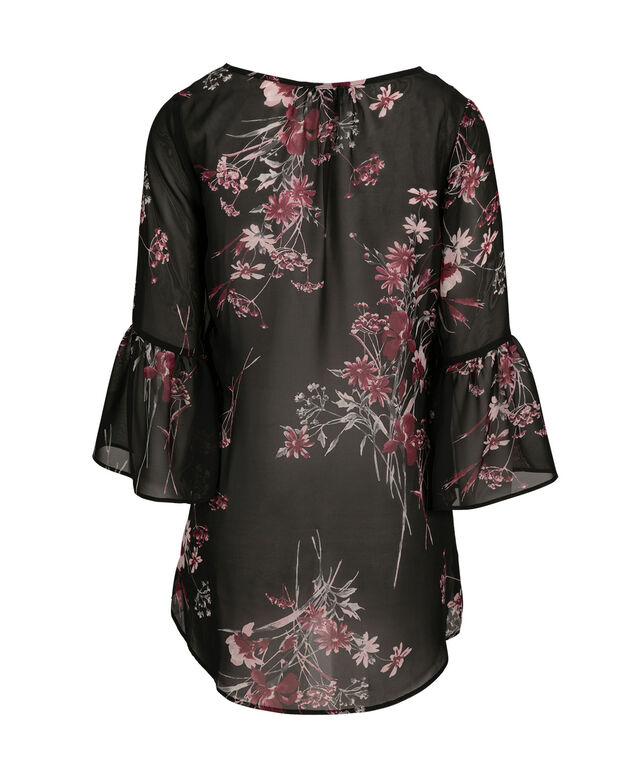 Pintuck Sheer Blouse, Pink Print, hi-res