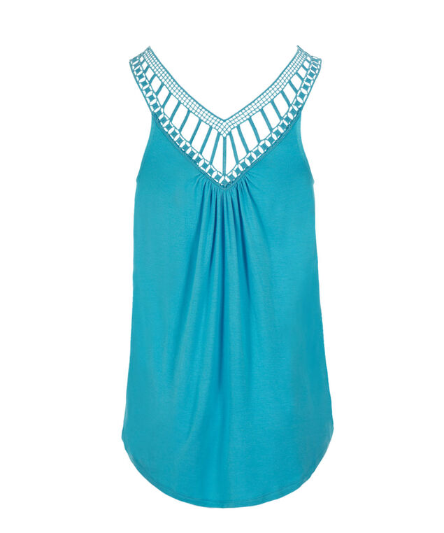 Crochet Trim Tank, Ocean Blue, hi-res