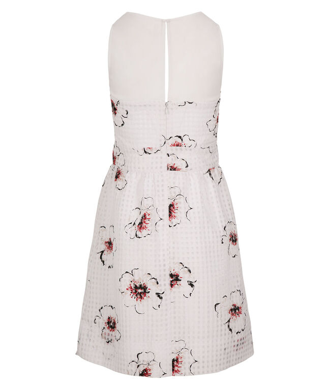 Floral Gingham Organza Dress, White/Red Print, hi-res