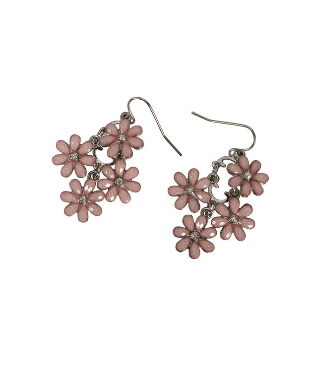 Glitter Stone Flower Earring, Baked Rose/Rhodium, hi-res