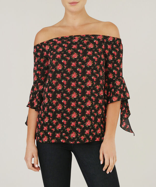 off shoulder bell sleeve top, BLACK FLORAL, hi-res