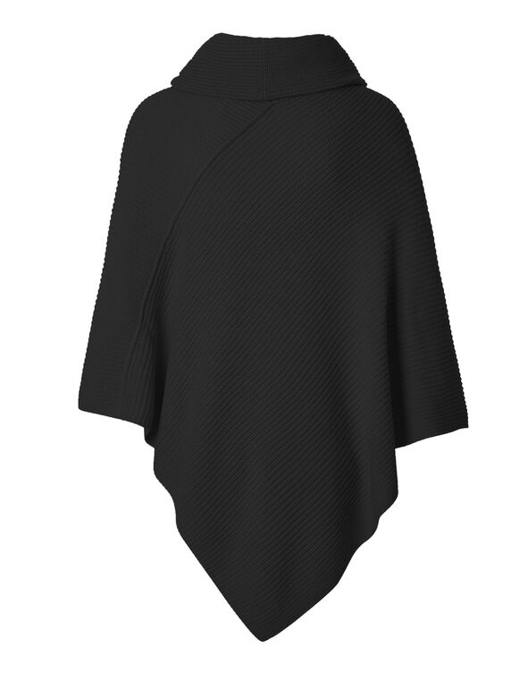 Black Ottoman Poncho With Scarf, Black, hi-res