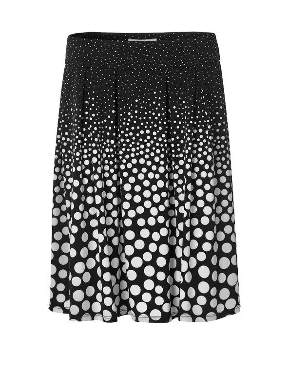 Black Dot Flippy Skirt, Black/White, hi-res