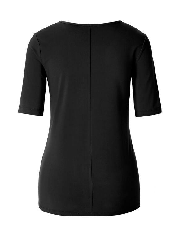 Black Cut Out Neckline Top, Black, hi-res