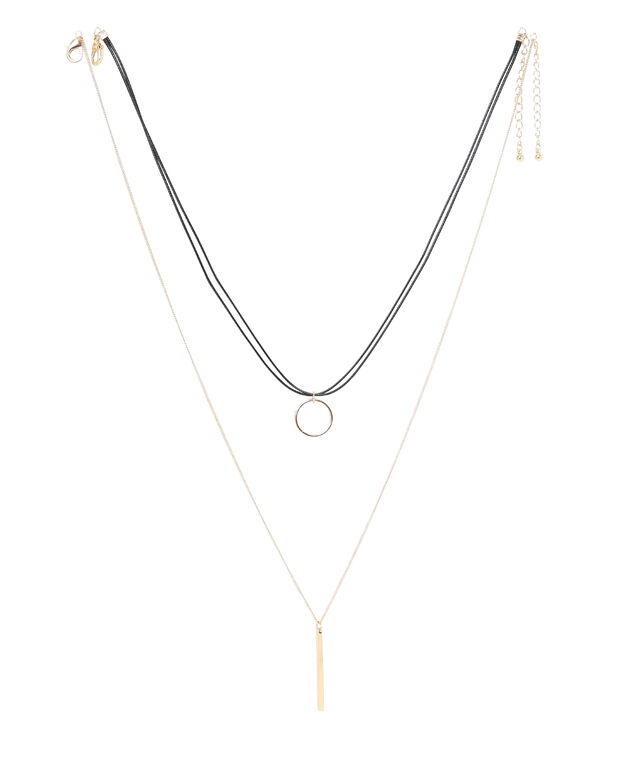 double strand choker with circle pendant, BLACK/GOLD, hi-res