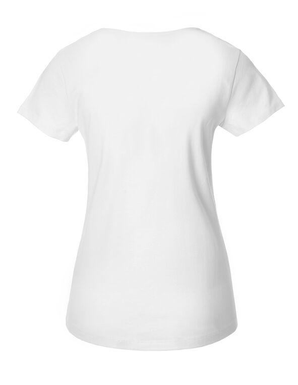 White Short Sleeve V-Neck Tee, White, hi-res