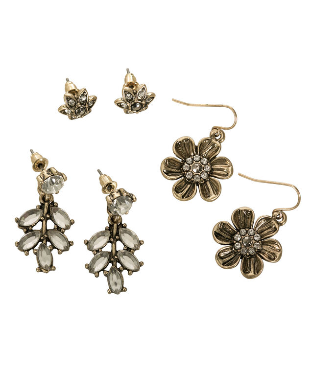 Floral & Crystal Earring Trio, Antique Gold, hi-res