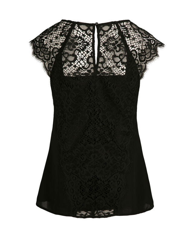 Lace Detail V-Neck Blouse, Black, hi-res