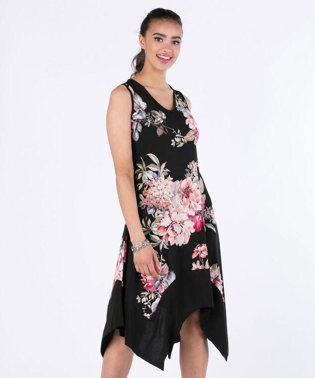 Luxology Floral Sharkbite Dress, Black Print, hi-res