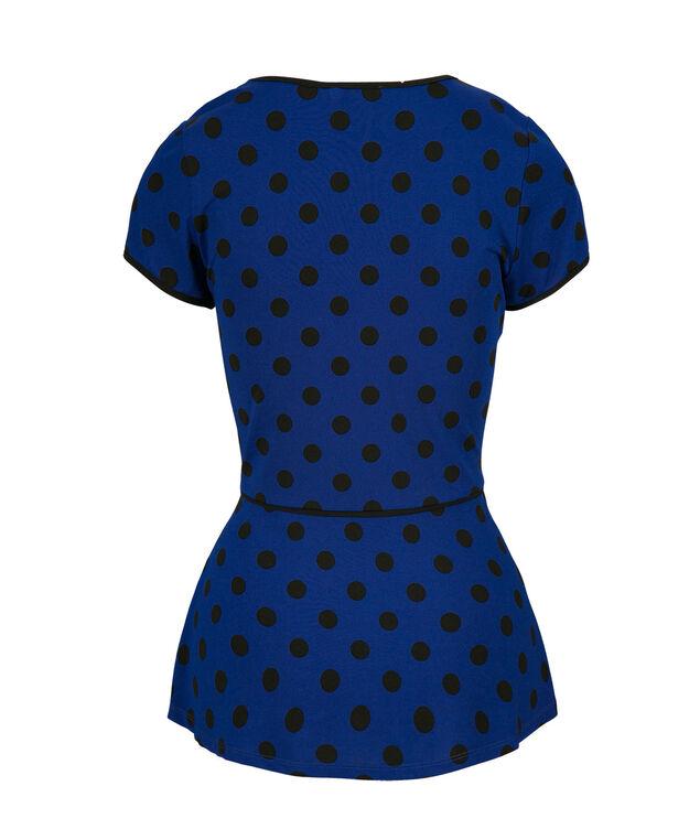 Piped Dot Peplum, Blue Print, hi-res