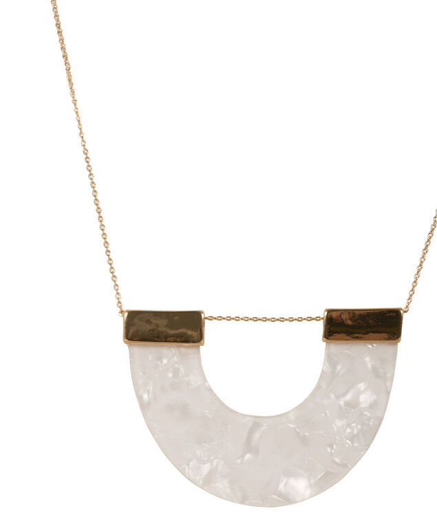 Semi Circle Natural Stone Necklace, White/Gold, hi-res