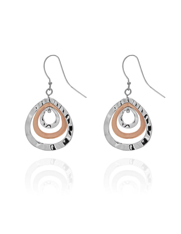 2 Tone Teardrop Earring, Silver/Rose Gold, hi-res