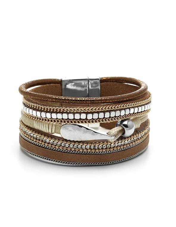 Brown Wrap Bracelet, Gold/Brown, hi-res