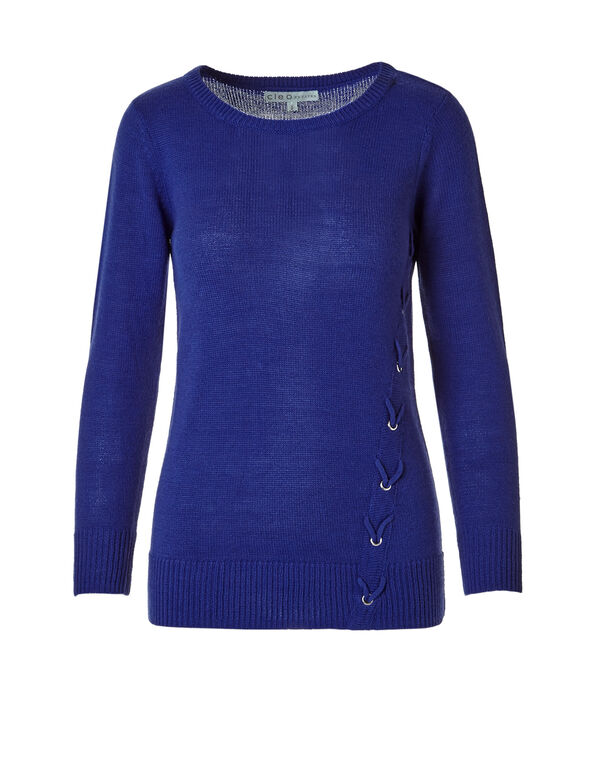 Royal Blue Lace Up Sweater, Royal Blue, hi-res