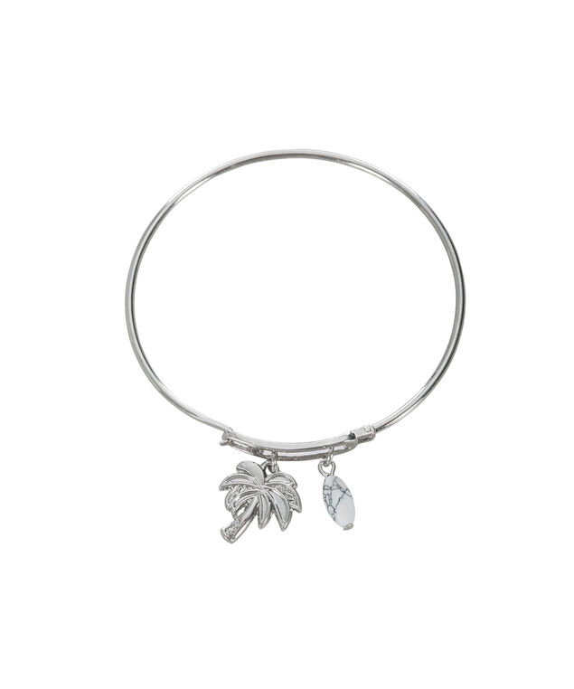Palm Tree Charm Bracelet, White/Rhodium, hi-res