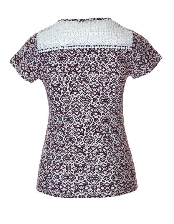 Ornate Crisscross Crochet Tee, Black/Bordeaux/Stone, hi-res