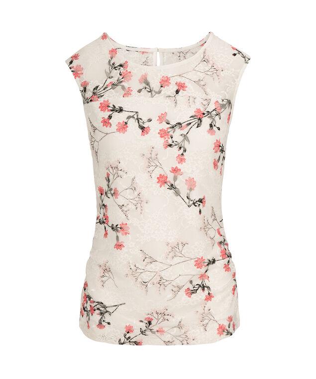 Illusion Neck Floral Lace Top, Milkshake Pattern, hi-res