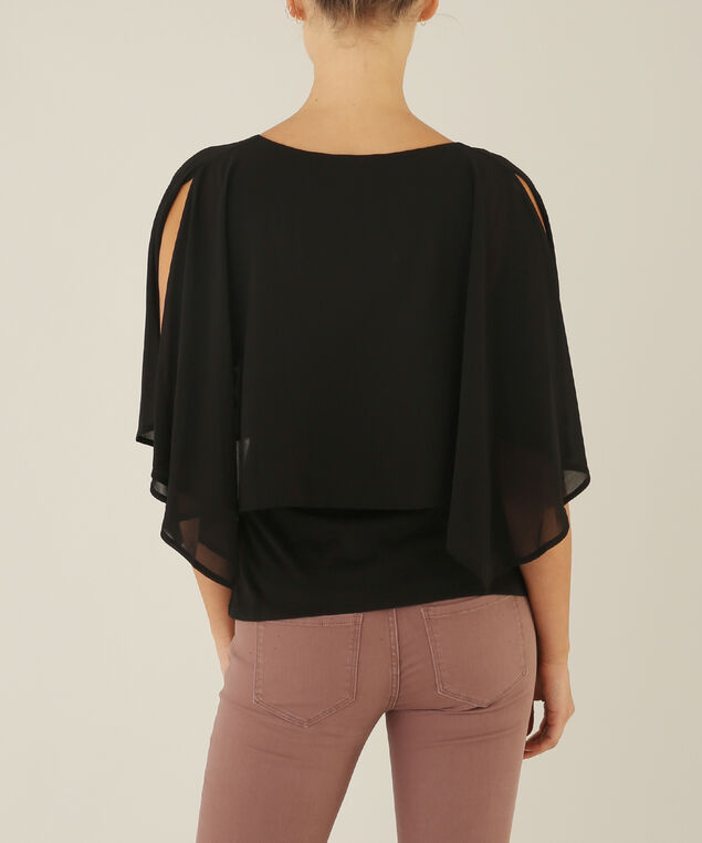 chiffon split sleeve top - wb, BLACK, hi-res
