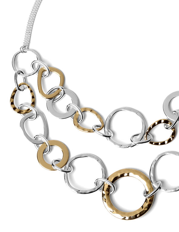 2 Tone Mixed Hoop Necklace, Silver/Gold, hi-res