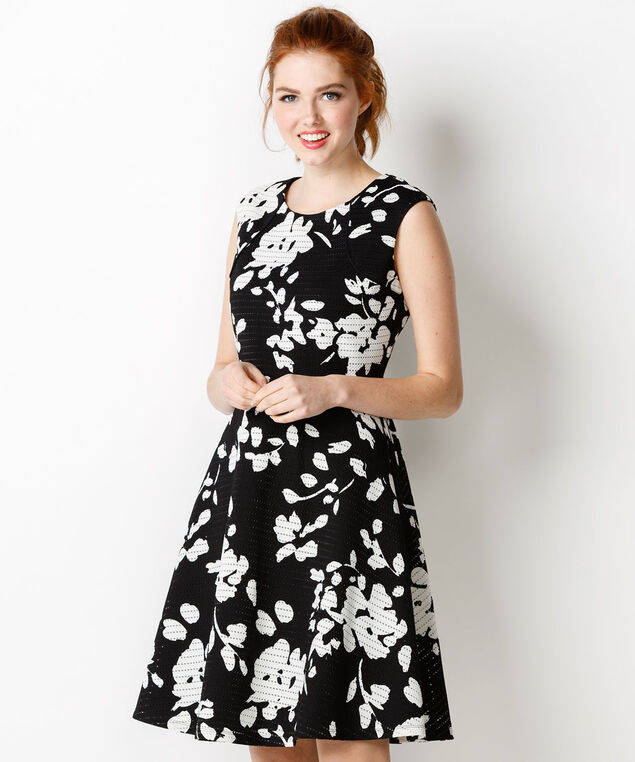 Floral Texture Dress, Black/White, hi-res