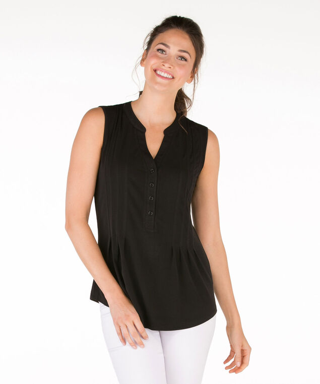 Sleeveless Pintuck Shirt, Black, hi-res