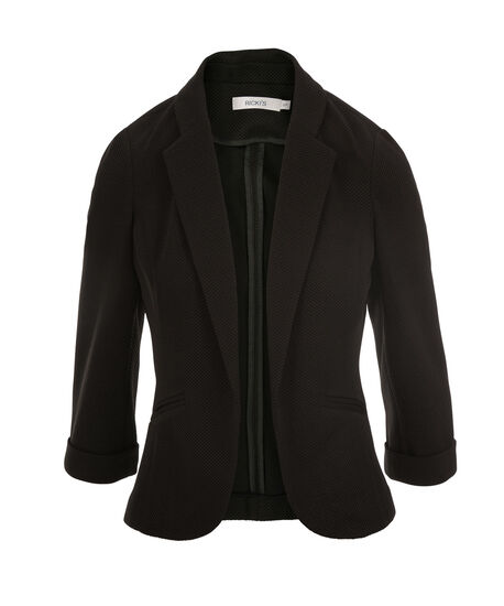 Textured Shrunken Blazer, Black, hi-res