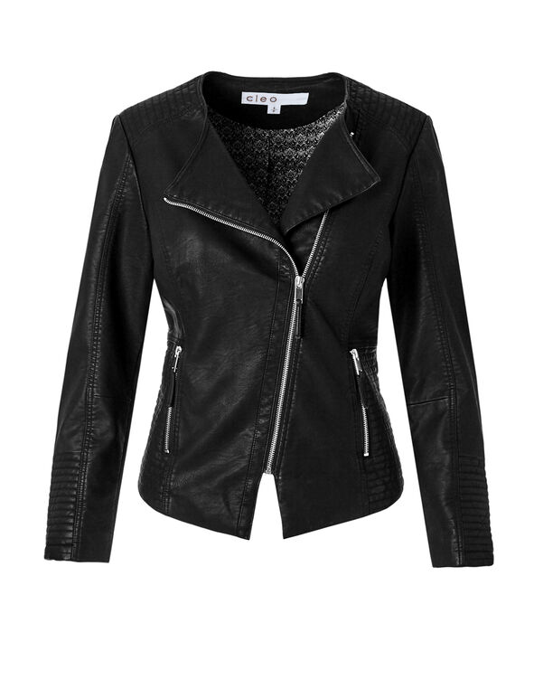 Black Asymmetric Pleather Jacket, Black, hi-res