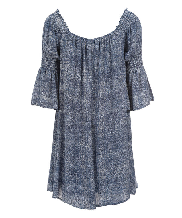 Cold Shoulder Trapeze Dress, Denim/Ivory, hi-res
