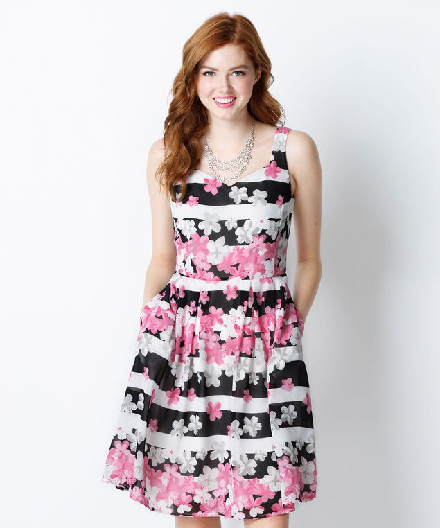 Sweetheart Neck Floral Dress, White/Black/Pink, hi-res