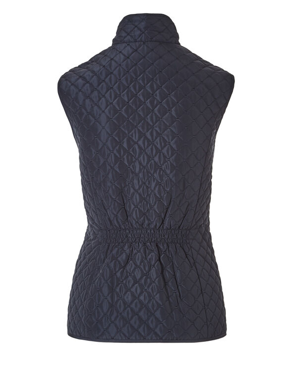 Quilted Vest with Gold Zipper, Navy/Gold, hi-res