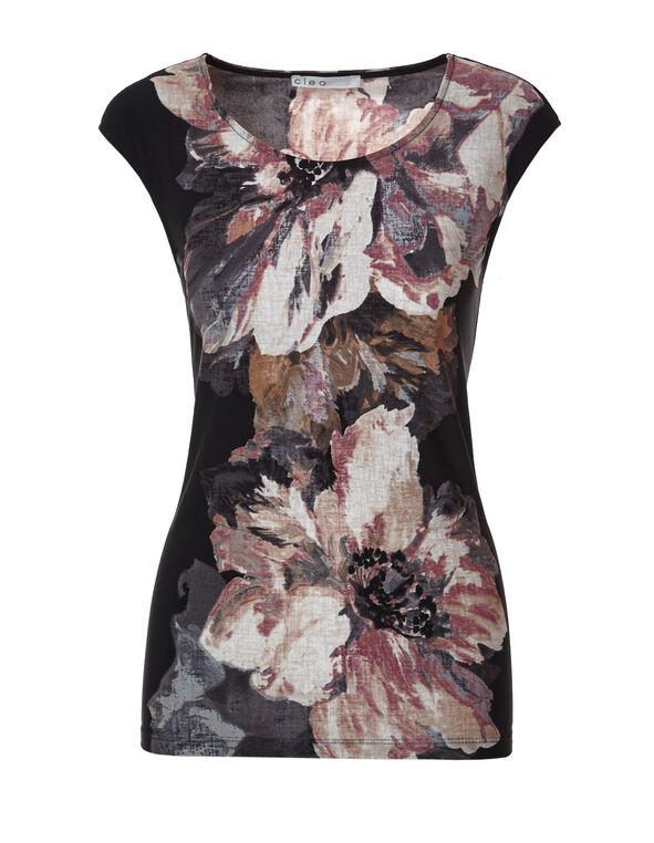 Black Rose Floral Print Top, Black/Rose/Peony, hi-res