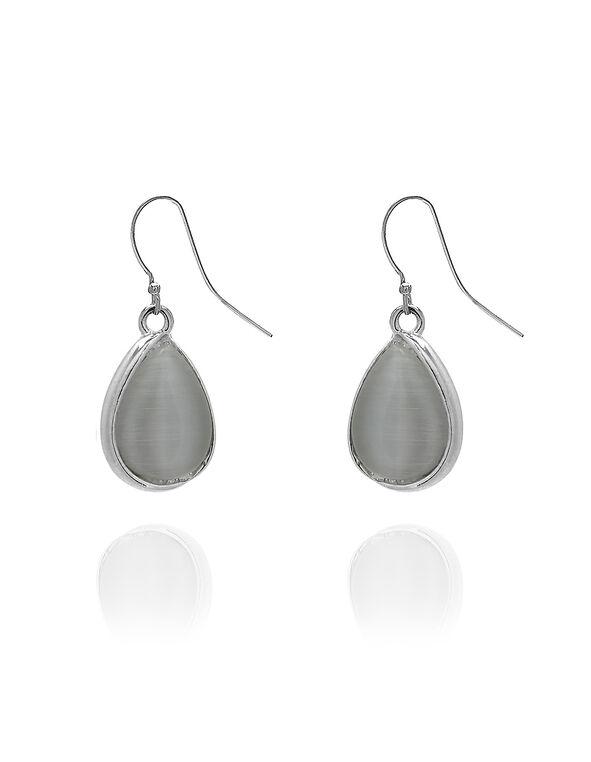 Ivory Teardrop Earring, Ivory/Silver, hi-res