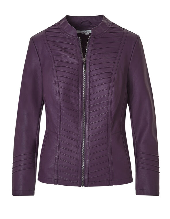 Deep Plum Faux Leather Jacket, Deep Plum, hi-res