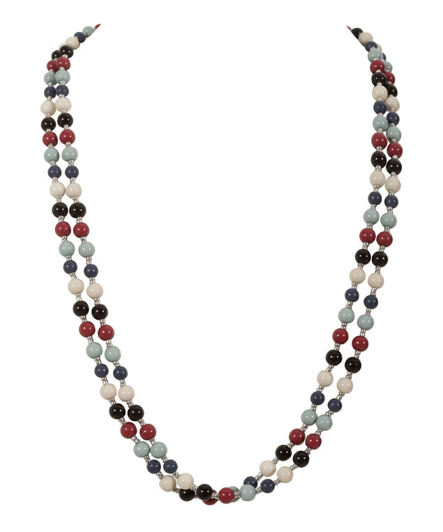 Long Stationed Bead Necklace, Deep Blue/Sea Foam/Deep Red, hi-res