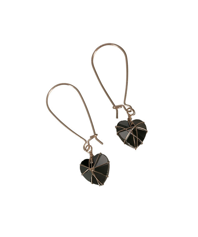 Heart Wrapped Earring, Jet Hematite/Rose Gold, hi-res