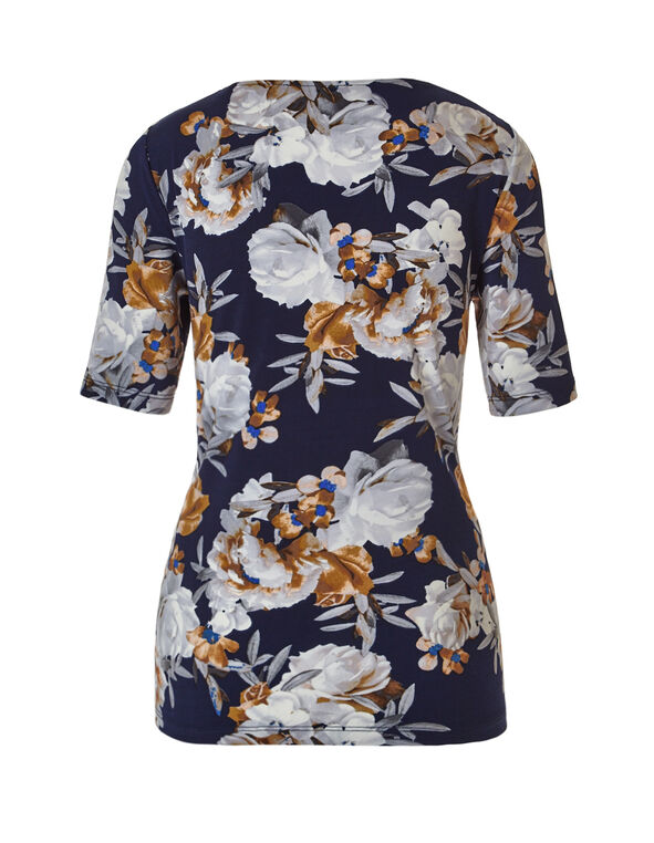 Neutral Floral Top, Navy/Neutral, hi-res