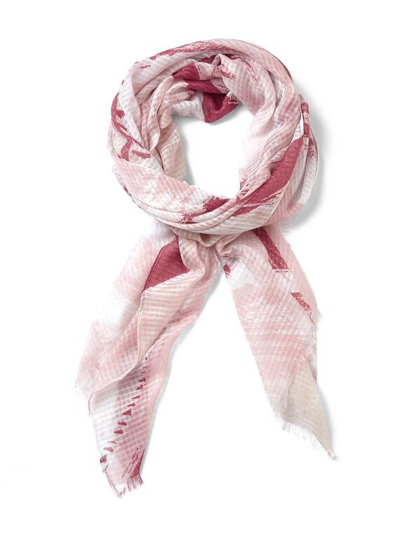 Pink Abstract Print Scarf, Pink, hi-res