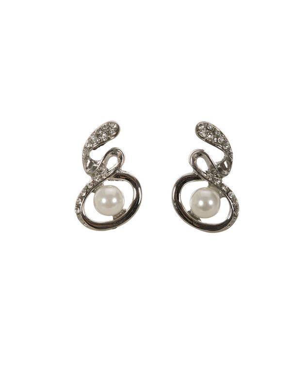 Crystal Wrapped Pearl Earring, White/Rhodium, hi-res