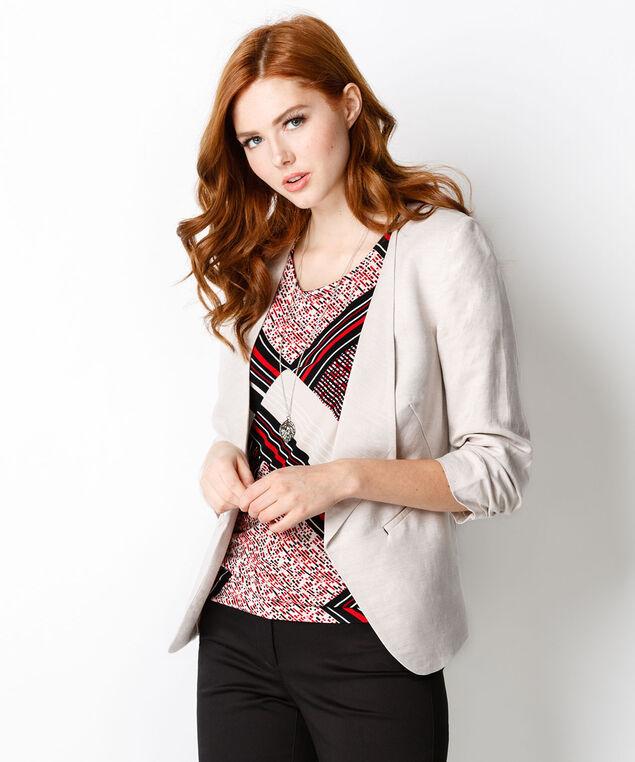 Linen Drape Front Blazer, Linen/Neutral, hi-res