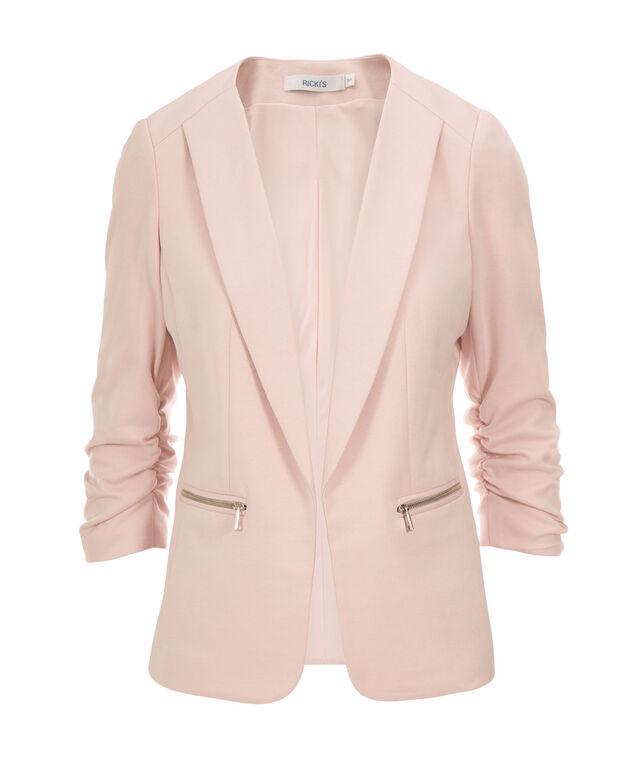 Knit Ruched Zipper Blazer, Blush Pink, hi-res