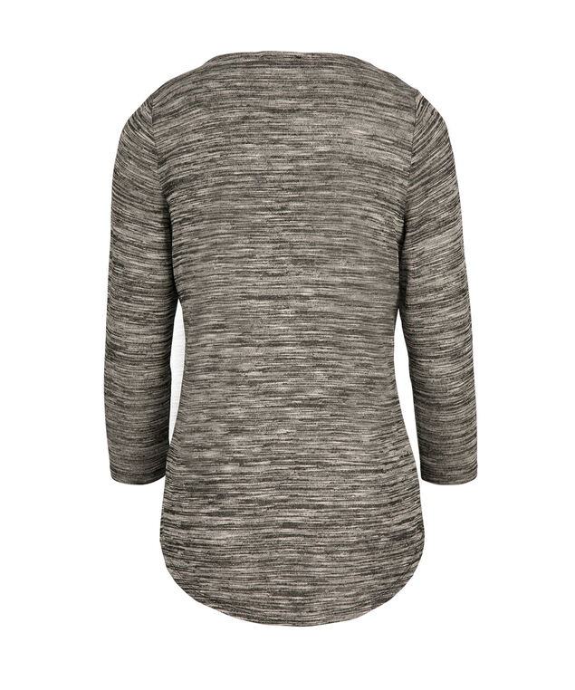 3/4 Sleeve Zip Top, Neutral Pattern, hi-res
