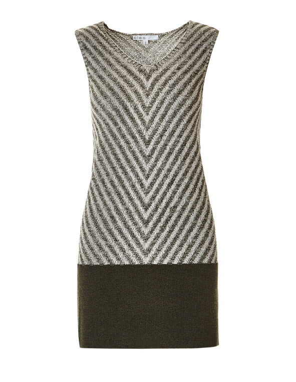 Sleeveless Tunic Sweater, Olive/Stone, hi-res