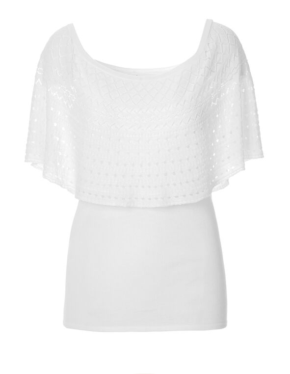 White Pointelle Pullover Sweater, White, hi-res